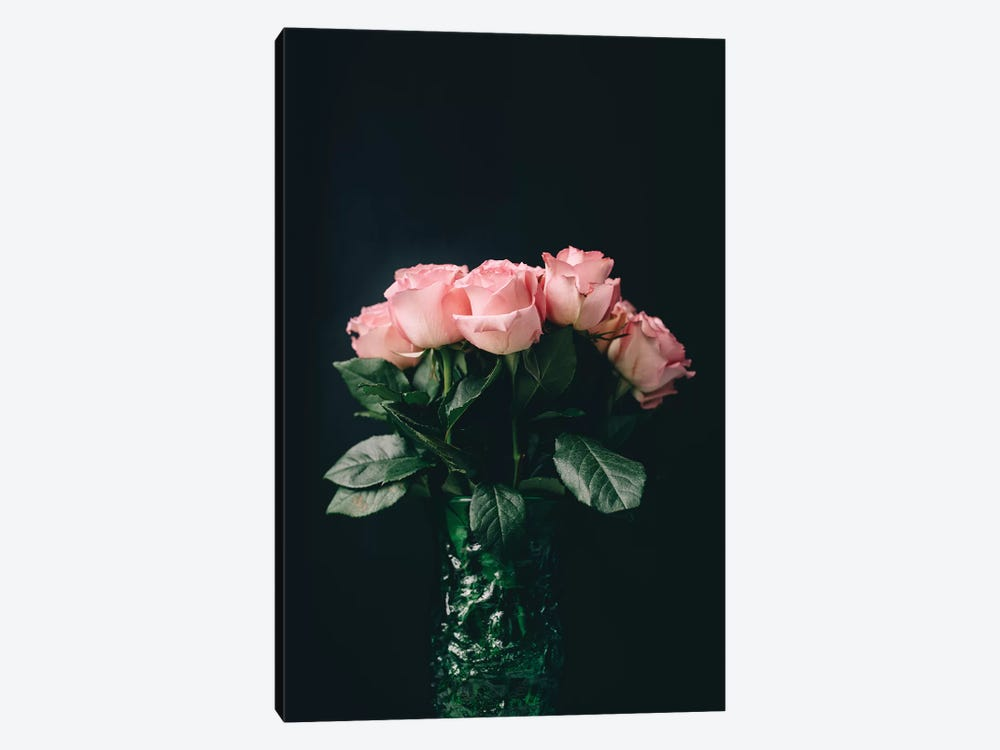 Pink Roses On Black II by Chelsea Victoria 1-piece Canvas Art