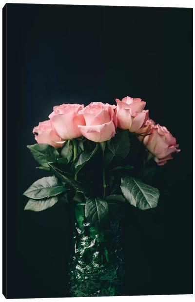 Pink Roses On Black II Canvas Art Print