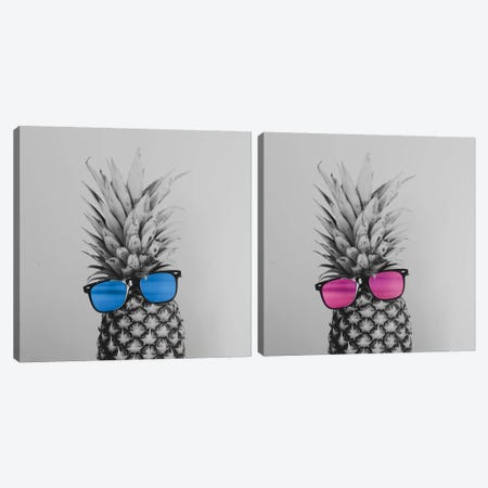 Mr. And Mrs. Pineapple Diptych Canvas Print Set #CVA2HSET001} by Chelsea Victoria Canvas Art