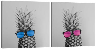 Mr. And Mrs. Pineapple Diptych Canvas Art Print