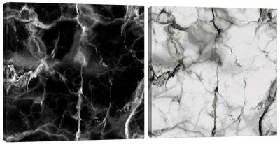 Black And White Marble Diptych Canvas Art Print