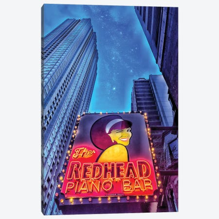 Red Head Piano Bar Canvas Print #CVE30} by Caitlin Vera Canvas Wall Art