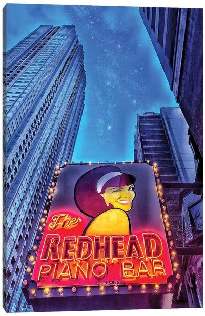 Red Head Piano Bar Canvas Art Print