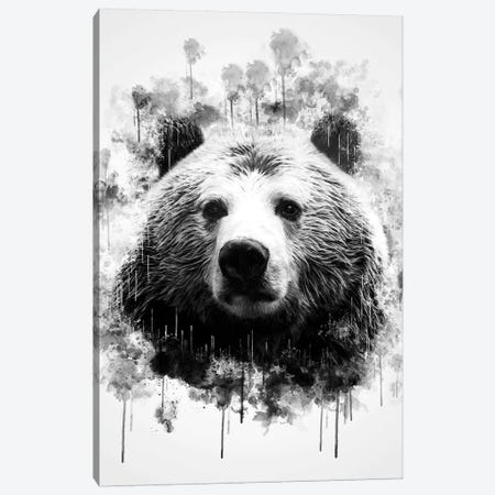 Bear Head In Black And White Canvas Print #CVL119} by Cornel Vlad Canvas Print