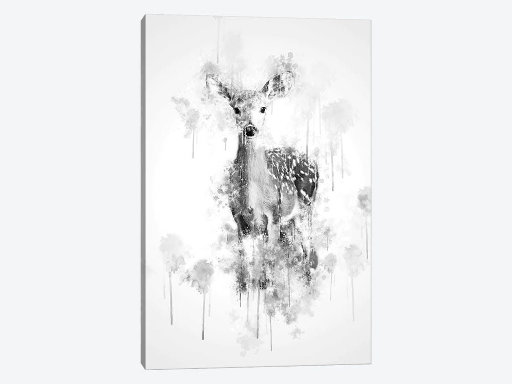 Deer In Black And White by Cornel Vlad 1-piece Canvas Artwork