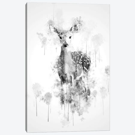 Deer In Black And White 3-Piece Canvas #CVL124} by Cornel Vlad Canvas Art Print