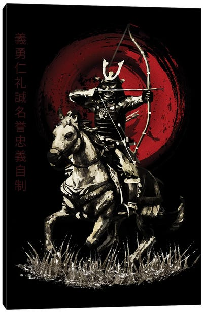 Bushido Samurai Yabusame Archer On Horse Canvas Art Print