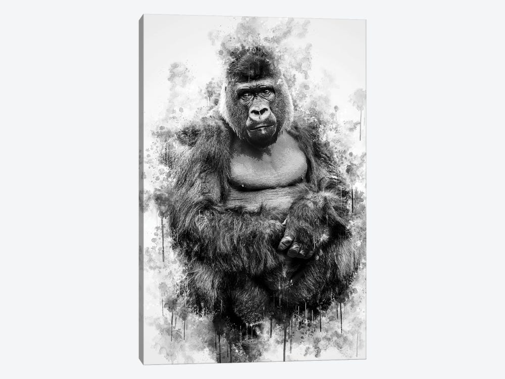 Gorilla In Black And White by Cornel Vlad 1-piece Canvas Artwork