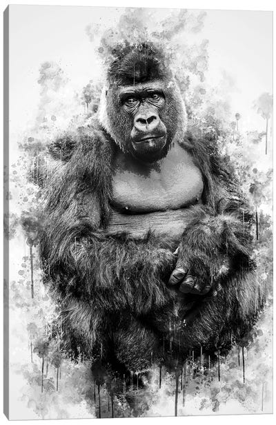 Gorilla In Black And White Canvas Art Print