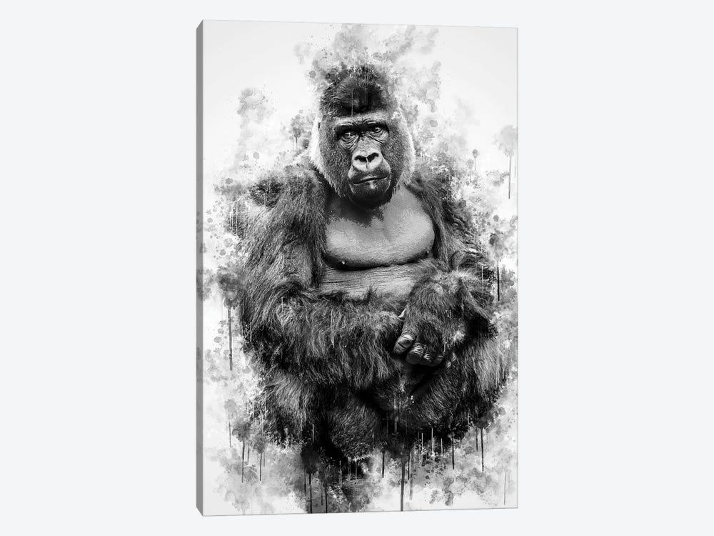 Gorilla In Black And White by Cornel Vlad 1-piece Canvas Artwork