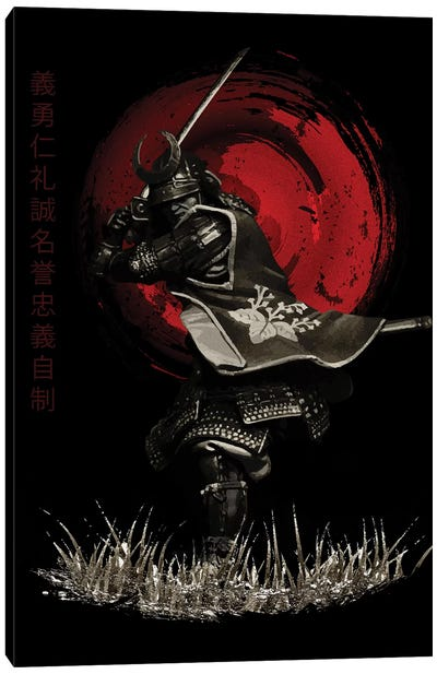 Bushido Samurai Attacking Canvas Art Print