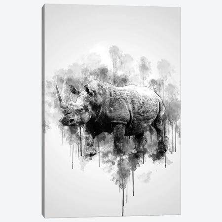 Rhino In Black And White Canvas Print #CVL146} by Cornel Vlad Canvas Art Print