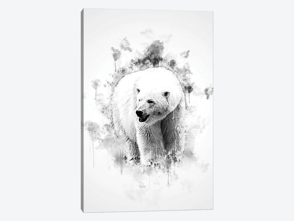Polar Bear In Black And White by Cornel Vlad 1-piece Canvas Art Print