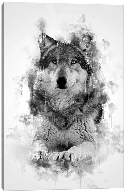 Wolf In Black And White Canvas Art Print