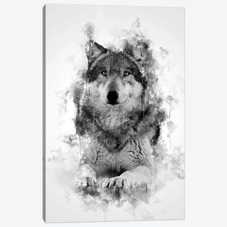 Wolf In Black And White Canvas Print #CVL161} by Cornel Vlad Canvas Art
