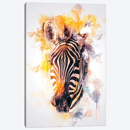 Zebra Head Canvas Print #CVL164} by Cornel Vlad Canvas Art Print