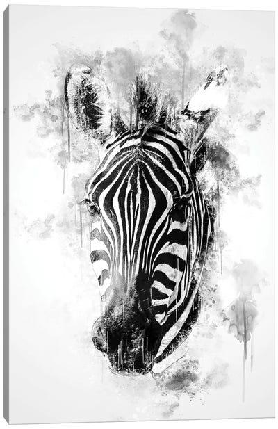 Zebra Head In Black And White Canvas Art Print