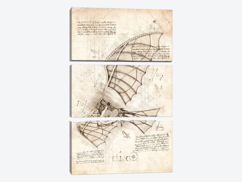 Flying Machine by Cornel Vlad 3-piece Canvas Artwork