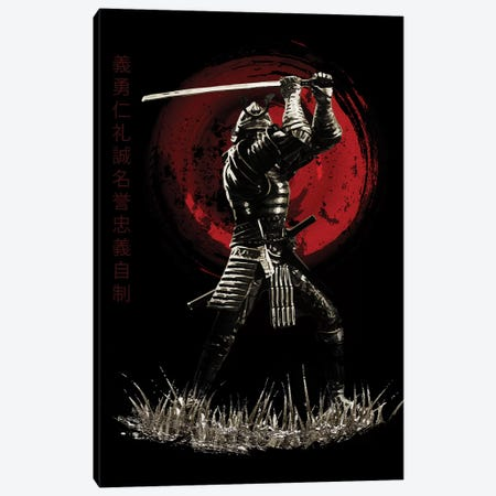 Bushido Samurai Blocking Canvas Print #CVL16} by Cornel Vlad Canvas Wall Art