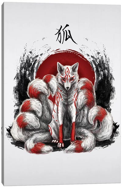 Japanese Nine Tailed Fox Kitsune Canvas Art Print