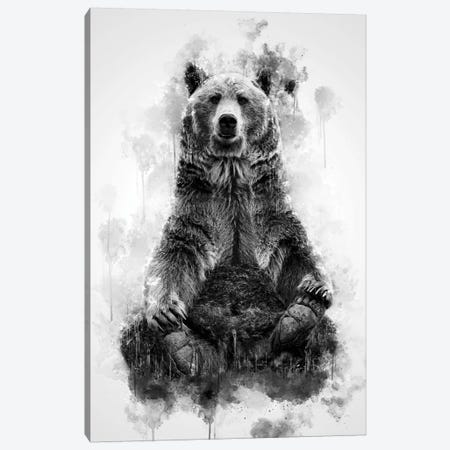 Brown Bear Black And White Canvas Print #CVL193} by Cornel Vlad Art Print
