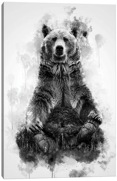 Brown Bear Black And White Canvas Art Print