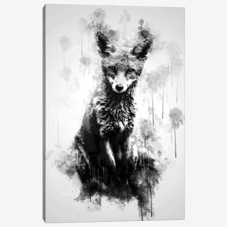 Fox Sitting Black And White Canvas Print #CVL207} by Cornel Vlad Canvas Art