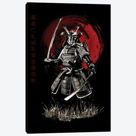 Bushido Samurai (Bushido Virtues Kanji) Canvas Print #CVL28} by Cornel Vlad Canvas Artwork