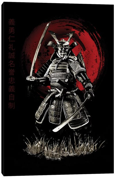 Bushido Samurai (Bushido Virtues Kanji) Canvas Art Print