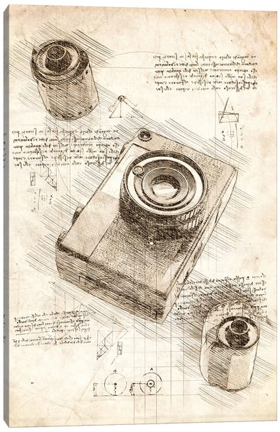 Camera And Film Canvas Art Print