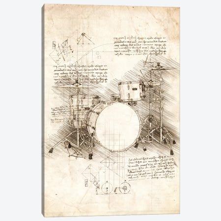 Drum Set 3-Piece Canvas #CVL39} by Cornel Vlad Canvas Art Print