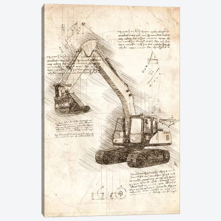 Excavator Canvas Print #CVL41} by Cornel Vlad Canvas Artwork