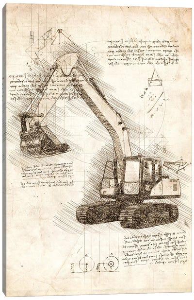 Excavator Canvas Art Print