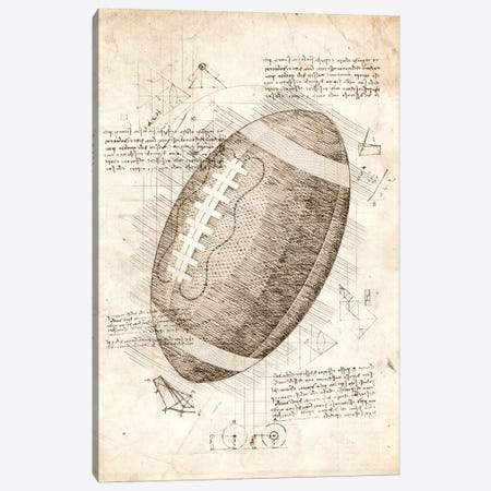 Football American 3-Piece Canvas #CVL43} by Cornel Vlad Canvas Art