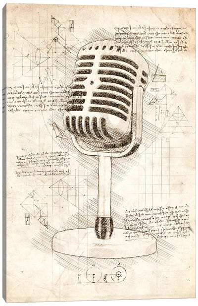 Microphone Canvas Art Print