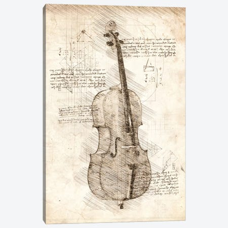 Cello 3-Piece Canvas #CVL65} by Cornel Vlad Art Print