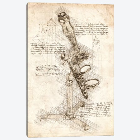 Antique Microscope Canvas Print #CVL69} by Cornel Vlad Canvas Wall Art