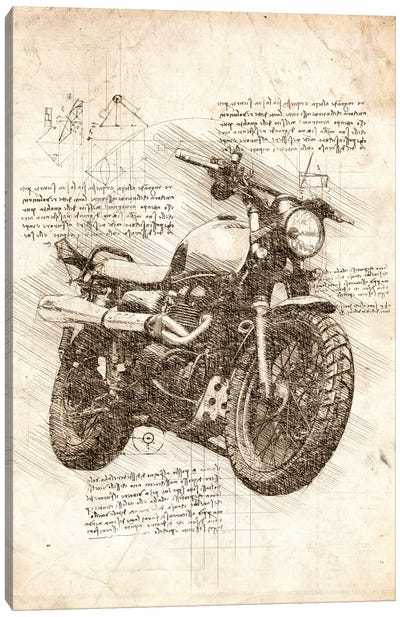 Old Motorcycle Canvas Art Print