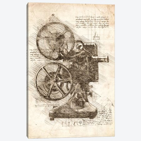Movie Projector Canvas Print #CVL71} by Cornel Vlad Art Print