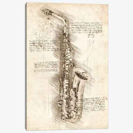 Saxophone Canvas Print #CVL74} by Cornel Vlad Canvas Artwork