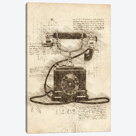 Old Telephone 3-Piece Canvas #CVL75} by Cornel Vlad Canvas Wall Art