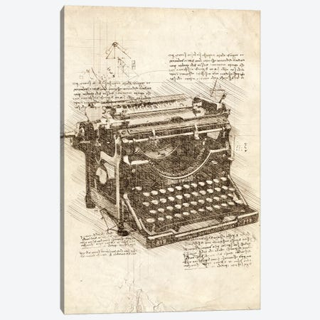 Typewriter Canvas Print #CVL78} by Cornel Vlad Canvas Art Print