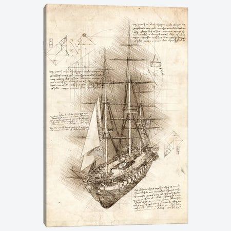 Old Sailing Ship Barque 3-Piece Canvas #CVL88} by Cornel Vlad Canvas Artwork