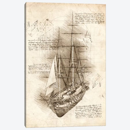 Old Sailing Ship Barque Canvas Print #CVL88} by Cornel Vlad Canvas Artwork