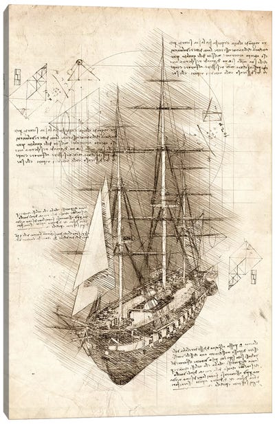 Old Sailing Ship Barque Canvas Art Print