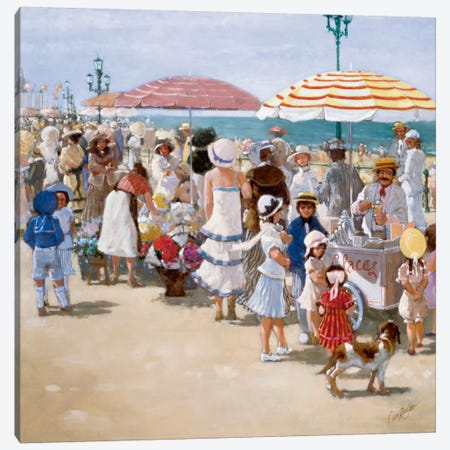 Beach Old Times III Canvas Print #CVR3} by Carel van Rooijen Canvas Artwork