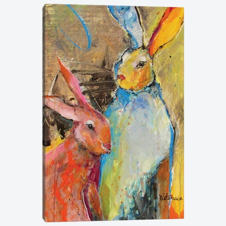 Harmonious Rabbits Canvas Print #CWB19} by Carole Rae Watanabe Canvas Artwork