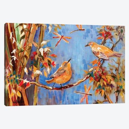 Yellow Warblers Love Canvas Print #CWB76} by Carole Rae Watanabe Art Print