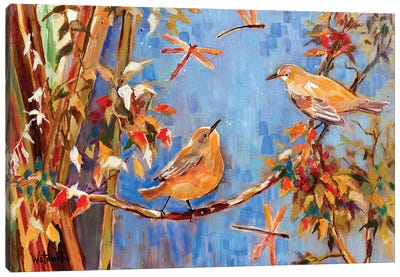 Yellow Warblers Love Canvas Art Print