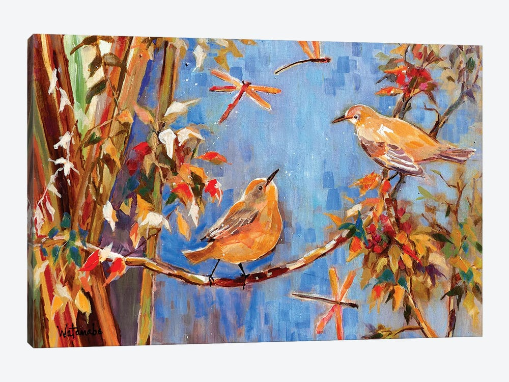 Yellow Warblers Love by Carole Rae Watanabe 1-piece Canvas Print